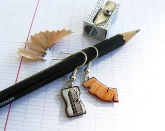 Pencil sharpeners and pencil peels earrings