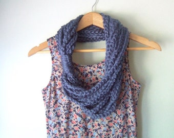 Blue Chain Scarf Necklace / Mid Length / Blue Scarf / Crochet Scarf