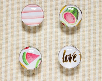 """Watermelon Love Glass Magnets / / Kitchen Magnet, Office decoration, Love Magnet, Fridge Magnet, 1 """"magnets, Set of Four Magnets, Glass Magnet"""