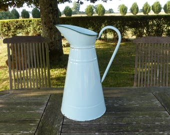 Vintage French pepermint mint green enamel water jug - Large shabby chic enamelware pitcher  - French kitchen decor