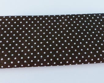 Brown fabric with white dots cotton 55 x 45,5 cm