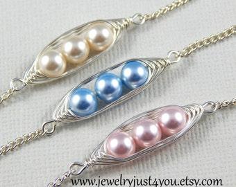 Three Peas In A Pod Best friend Bracelet Set, Select Your Color