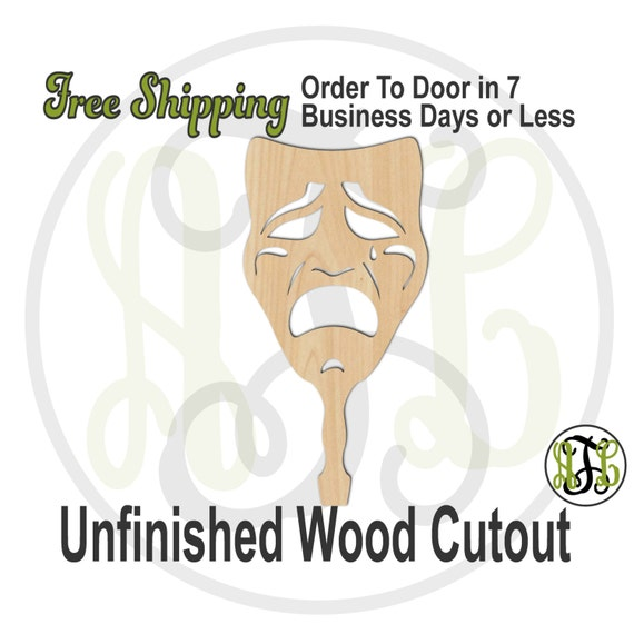 Sad Face Paddle - 3400023- Mardi Gras Cutout, unfinished, wood cutout, wood craft, laser cut shape, wood cut out, DIY, Free Ship