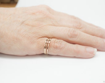 14k Gold Stacking Rings - Real Gold Rings - Hammered 14k Gold Filled - Petite Dainty Thin Stacking Rings Textured