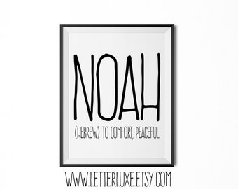 Noah Name Meaning Art - Printable Baby Shower Gift - Nursery Printable Art - Digital Print - Nursery Decor - Typography Wall Decor