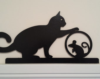 Playful Cat Silhouette - Door or Window Topper Handcrafted and Painted. Perfect for Cat Lovers! Cat with Mouse