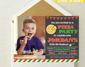 Pizza Photo Invitation / Pizza Party Invitation / Pizza Birthday Invitation / Pizza Birthday Party / Cooking Invitation / Cooking Photo
