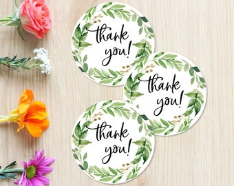 Printable Thank You Stickers, Tags, Printable Baby Shower Stickers, Greenery Green Leaf Green Wreath, Thank You Stickers, 70J