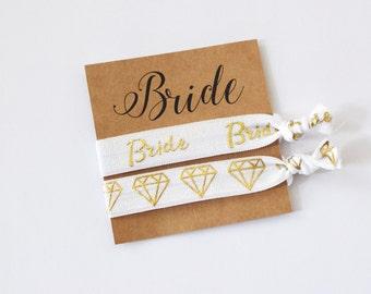 Bride Hair Tie Set//Bride Hair Ties// Bride to Be Gift // Wedding Favors // Bride Two Hair Ties