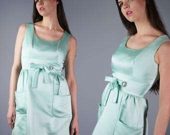 60s Aqua Satin Dress 1960s Rhinestone Dress with Tie Bow Waist Pockets Dress Cocktail Party Dress Pockets Dress