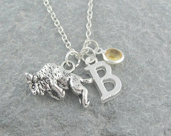 Buffalo necklace, bison necklace, swarovski birthstone, initial necklace, personalized jewelry, birthstone necklace, silver buffalo charm