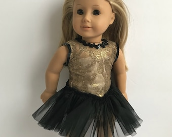"""Gorgeous Gold Lace & Black Dance Set - Designed for an 18"""" American Girl Sized Doll"""