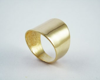Gold wide ring Tube ring Gold wide band Boho gold ring Wide band ring Statement gold ring