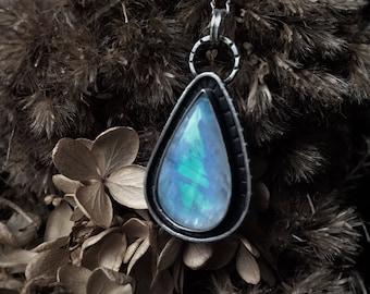 Rainbow Moonstone Teardrop Necklace