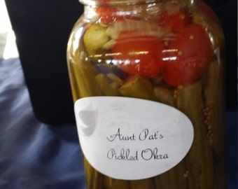 pickled okra and cherry tomatoes