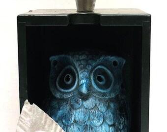 Blue, Owl, Chrome Accents,  Assemblage Art, Mixed Media, Recycled Art, Home Decor, Gift, Office Art, Winjimir, Owl, Bird Art, Whimsical Art.