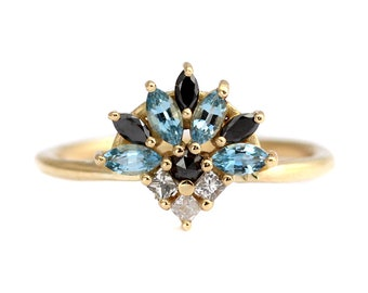 Aquamarine And Diamond Cluster Ring, Aquamarine Engagement Ring, Black Diamond Ring, Marquise Ring, Princess Cut Engagement Ring
