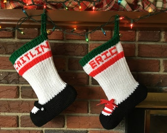 Set of Two Personalized Hand Knit Christmas Stockings