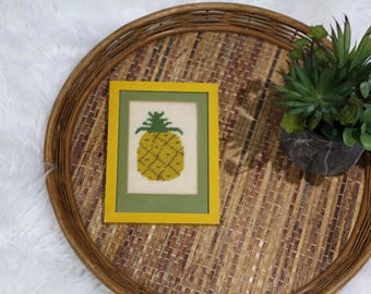 Vintage Pineapple Needlepoint Yellow Framed Wall Decor
