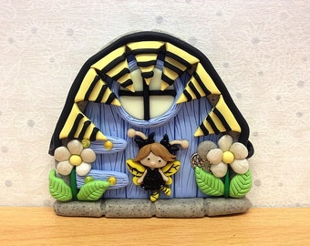Clay Fairy Door, Fairy Decoration - Bumblebee Fairy