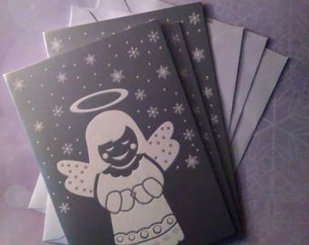 Christmas: set of 3 Christmas theme cards little angel with 13.5 x 9.5 envelopes