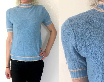Medium 50s Mock Neck Shirt Baby Blue High Neck Tee 50s Womens Casual Top 1960s Womens Casual Blouse Tshirt Sweater 60s Knitwear 50s Knitwear