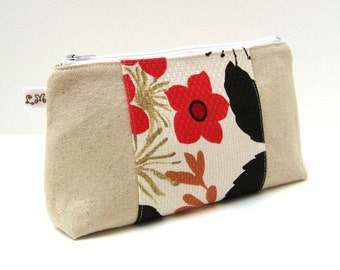 Makeup Bag Cosmetic Clutch Red Flowers on Natural Cotton