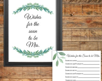 Greenery Wishes for the Mrs Printable Bridal Shower Game, Instant Digital Download