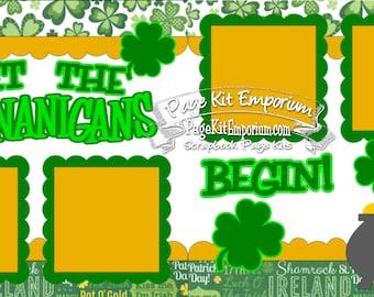 Scrapbook Page Kit Saint Patrick's Day Shenanigans 2 page Scrapbook Layout Kit 045