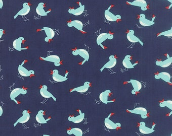Fabric by Moda: Vintage Picnic by Bonnie and Camille, Navy birds