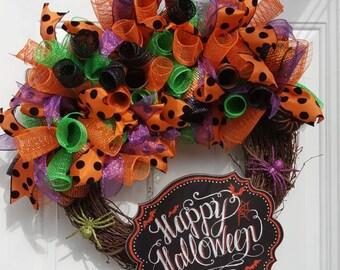 Halloween Deco Mesh Wreath,  Halloween Decor, Halloween Wreath, Halloween decor, Halloween Chalkboard Wreath, Halloween Chalkboard Decor