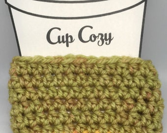 Green and Yellow Cozy, Cup Cozy, Coffee Cup Cozy, Cup Sleeve, Drink Cozy, Beverage Cozy