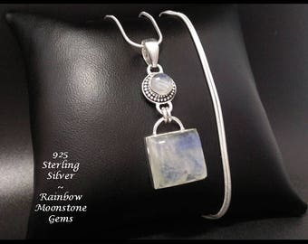 Moonstone: Sterling Silver Necklace Pendant Featuring Two Rainbow Moonstone Gemstones | Gift Idea, Gifts for Women, Gifts, Pendant 007