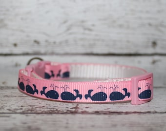 Adjustable Breakaway Cat/Kitten Collar Pink w/ Navy Whales