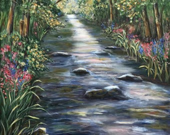 Brook, calm, nature, landscape