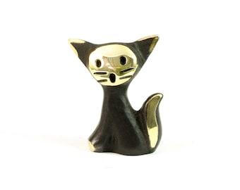 "Walter Bosse Cat - Brass ""Black Gold"" Baby Kitten Figurine — ""Katze"""