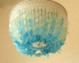 Sea Glass Chandelier Lighting Fixture  FLUSH MOUNT Coastal Decor Beach Glass Ceiling Fixture  crystal chandelier lighting flush mount