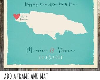 Jamaica Custom Wedding Print Destination Wedding Gift  Memento Couple print alternative Signature Guest Books USA States Map