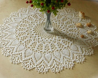 Large crochet doily Elegant crochet doilies Table decoration Round crochet centerpiece Large lace doily Pineapple doily 432