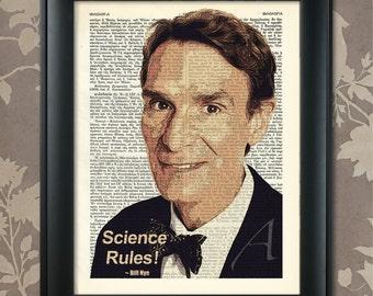 Bill Nye Print, Bill Nye Quote, Bill Nye Poster, Bill Nye art, Bill Nye wall art, Bill Nye Decor, Nye Dictionary Art, Scientist, Agnostic
