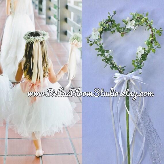 Wedding wand bridesmaid bouquets Flower girl wand Small