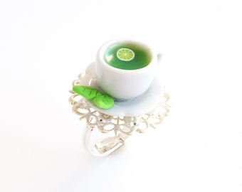 Cup of Green Tea Ring, Cup Ring, Healthy Food, Food Jewelry, Mini Food, Polymer Clay Sweets, Mini Food Jewelry, Kawaii Jewelry, Ceramic Cup