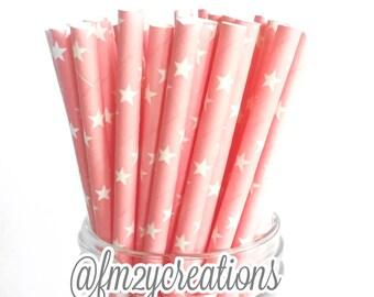 Star PAPER STRAWS | Light PINK Star Paper Straws | Twinkle Twinkle little star baby shower | Twinkle Twinkle little star first Birthday