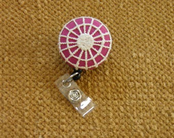 Badge Reel, ID holder vintage tatting cover