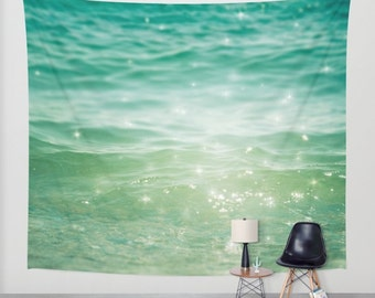 ocean tapestry, large size wall art, wall decor, tapestry, abstract, sea tapestry, stars shimmer sparkle green mint turquoise
