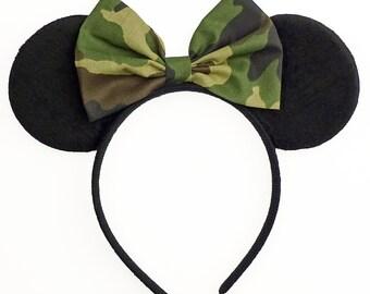 Minnie Mouse Ears Camouflage Minnie Mouse Bow Mickey Ears Headband Minnie Ears Green Camo Minnie Mouse Bow Minnie Mouse Outfit Green Ears