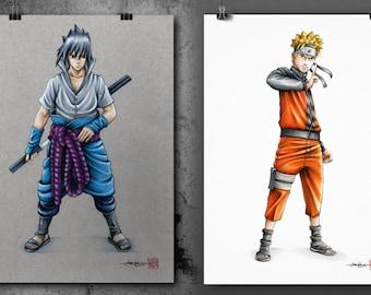 Sasuke & Naruto (Shippuden ) - Illustrated Giclee Print