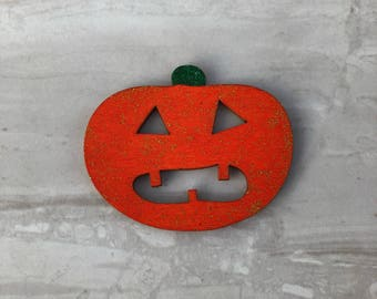 Pumpkin fridge magnet, wooden magnet, Halloween magnet, kitchen decor, Halloween decor, Halloween gift
