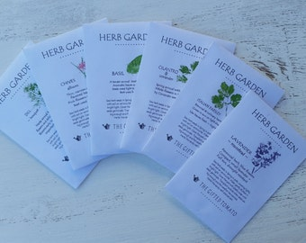 6 Packets of Herb seeds Dill lavender chives cilantro Italian parsley basil indoor herb garden organic herb seeds garden gift for coworker