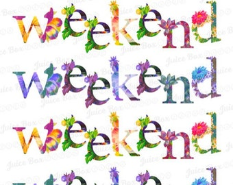 Set of 5 Floral Weekend Stickers for various planners, journals, calendars